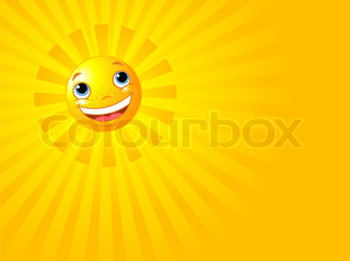 A background illustration featuring a happy smiling sun with rays of light beaming