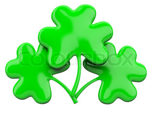 Three-leaf clover isolated on a white background