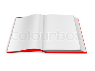 Layout of an open book. 3d render. Isolated on white.
