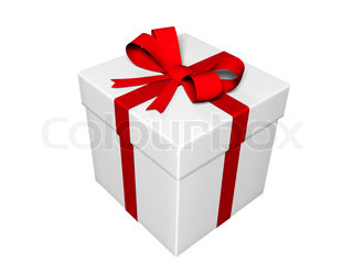 present-gift box isolated on white