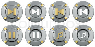 Media icon under a stylized metal button with bolts