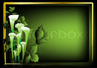 Flower frame for the text on a dark green background