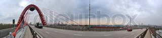 Modern red moscow car bridge, panorama evening sundown