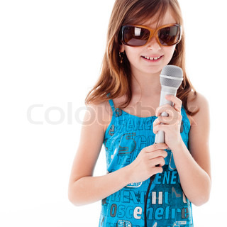 Girl are singing a song. Isolated on white