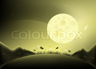 Illustrated with a large full moon with a silhouette of mountains, butterflies and fireflies