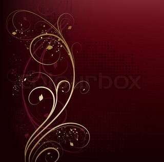 Red and gold beauty floral background