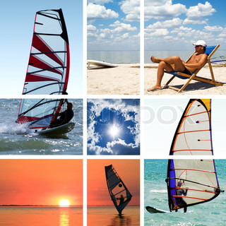 Collage of images on a summer sports theme. Surfing