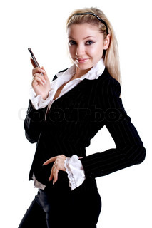 young woman using cellphone om a white background