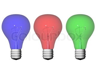 three colored light bulbs isolated on white