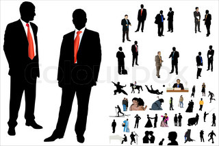 Vector illustration of 50 people silhouette under the white background