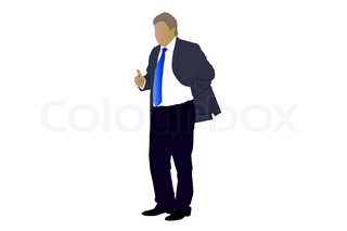 Vector illustration of businessman's silhouette under the white background