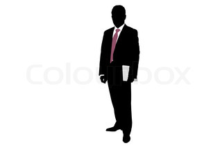Vector illustration of businessman's silhouette with folder