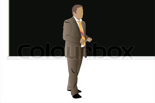 Vector illustration of men stands near the blackboard