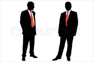 Vector illustration of two businessmen with red neckties