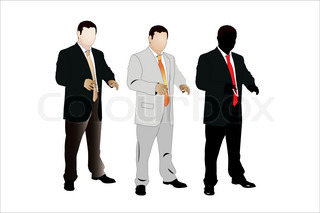 Vector illustration of businessman under the white background. The are three color versions of the image