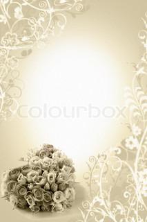 beige bryllup baggrund med roser bouqete