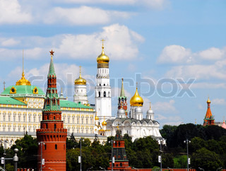 Moscow cityscape with Kremlin towers and churches