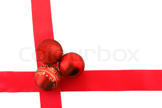 christmas bolls and ribbon