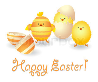 Happy Easter card with funny chickens and broken eggshell.