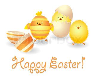 Happy Easter kort med sjove kyllinger og brudte æggeskal .