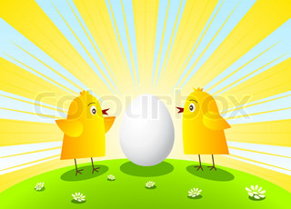 Two chickens and egg on sunbeam background.