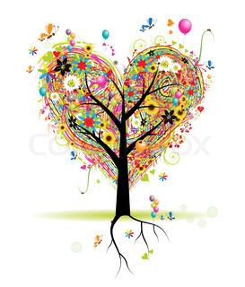 Happy ferie , hjerte form træ med balloner