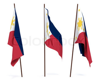 The state flag of Philippines. On white background