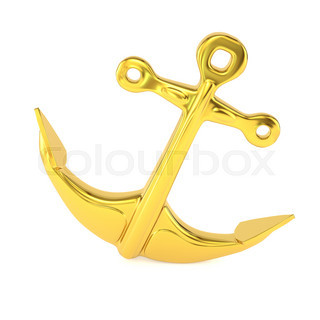 Gold Anchor Isolated On A White Background 3d Illustration