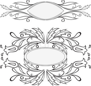 set of two black vignettes on a white background