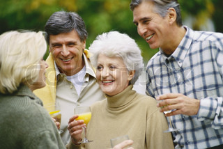 ?Eric Audras/AltoPress/Maxppp ; Two senior couples drinking orange juice and talking