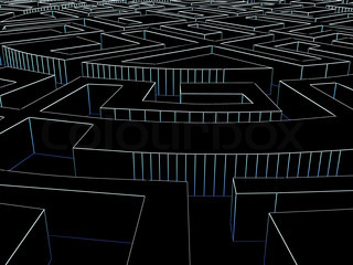 Round labyrinth. Done in luminous lines on a black background