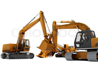 Three industrial diggers isolated on white background
