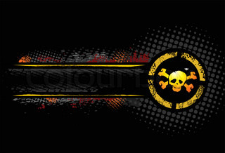 Yellow Skull on the grunge background, detailed vector
