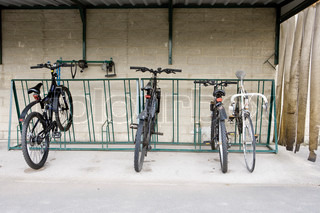 Bicycles parked in sheltered bicycle rack