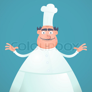 Illustration of an cartoon happy fat chef on a blue background