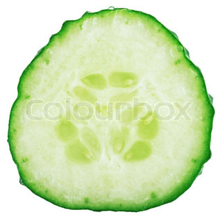 macro slice of cucumber on a white background