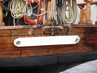 Fragment of boat with ship equipment and and copyspace on board