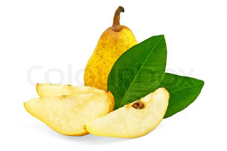 Yellow pear, three slices of pear and two green leaf isolated on white background