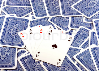 Four Aces in  Background scattered Playing Card Back  .