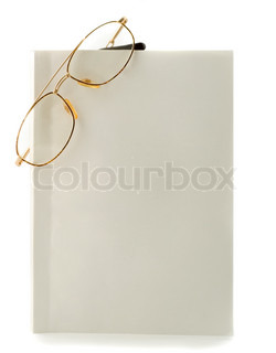 Blank white book spectacles close-up isolated on white background
