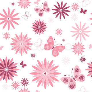 White nahtlose floralen Muster mit rosa Blumen und Schmetterlinge (Vektor)