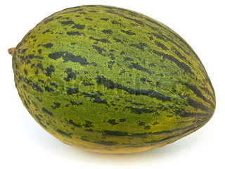 Photo of the green melon against the white background