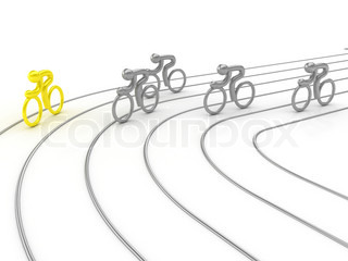 Cycling competition. On white surface. Computer graphics