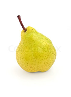 Ripe yellow pear on white background