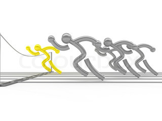 Athletics competition. On white surface. Computer graphics