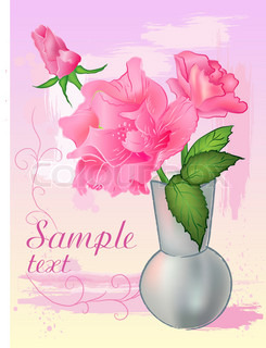Card with rose and vase for design