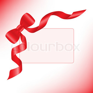 red bow on a pink background with a card