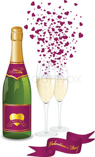 Champagne bottle and two glasses. Valentine's day background