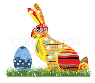 Decorative Easter bunny against the white background