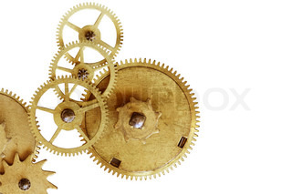 Old gearweels isolated on white background with clipping path and copy space